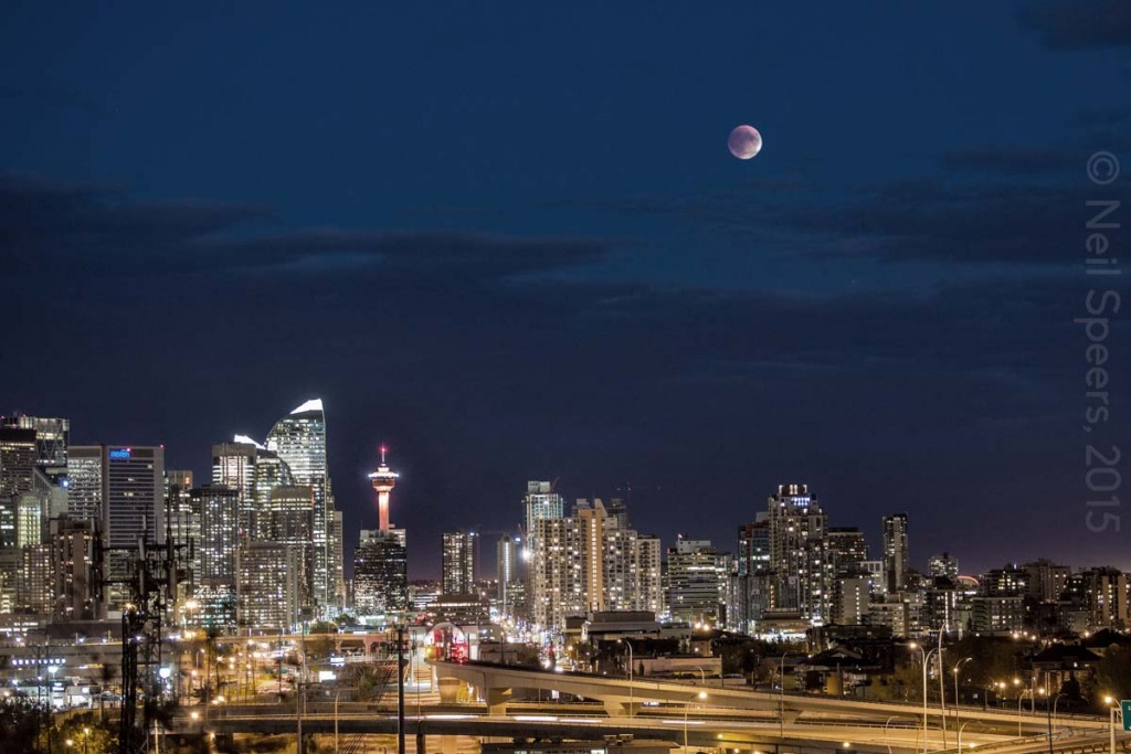 Calgary Skyline and Moon 0046