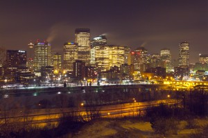 Calgary Downtown Winter Night